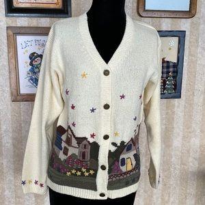 Northern Treasures Vintage Cottage Print Sweater